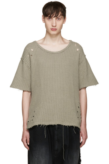 Miharayasuhiro - Khaki Waffle Knit Damaged T-Shirt
