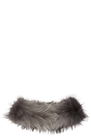 Yves Salomon - Black & Grey Raccoon Fur Collar Scarf
