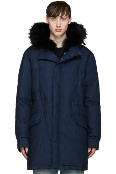 Yves Salomon - Navy Denim Down & Fur Parka