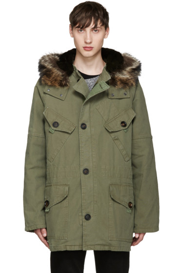 Yves Salomon -  Green Fur-Lined Military Coat
