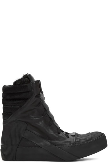 Boris Bidjan Saberi - Black Leather High-Top Sneakers