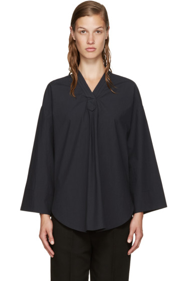 Nomia - Navy V-Neck Blouse