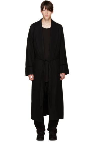 D by D - Black Wool Robe Coat