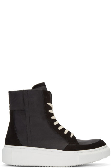 D by D - Black Nylon High-Top Sneakers