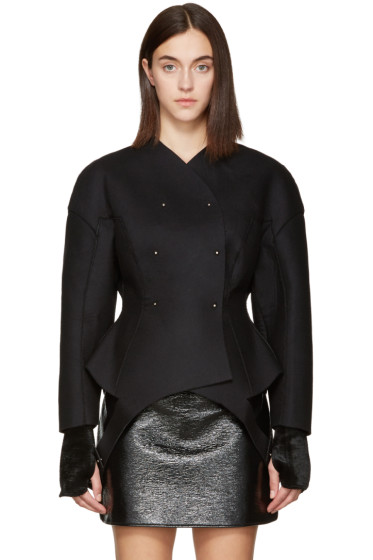 Esteban Cortazar - Black Wool Round Jacket