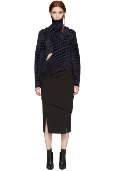 Esteban Cortazar - Navy Ribbed Velvet Asymmetric Turtleneck