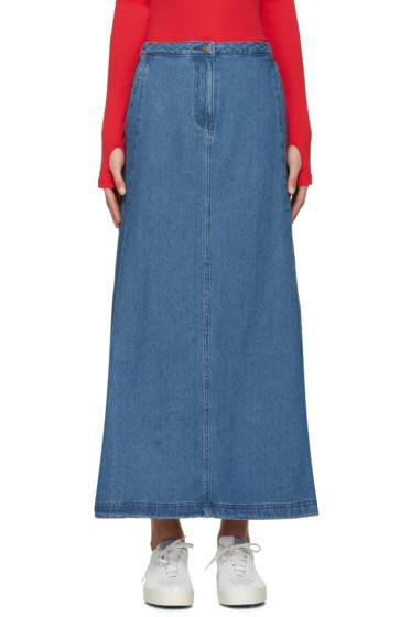 SJYP - Blue Denim Flared Skirt