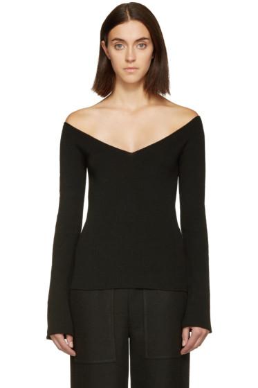 Lemaire - Black V-Neck Off-the-Shoulder Sweater