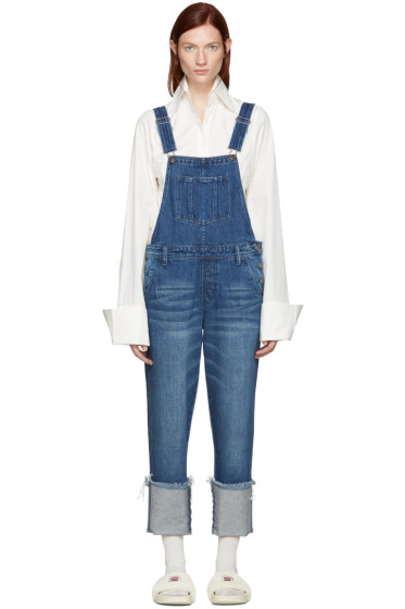 Edit - Blue Denim Turn Up Overalls