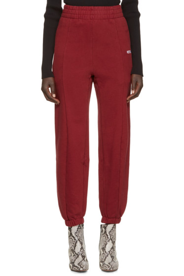 Vetements - Burgundy Fitted Biker Lounge Pants