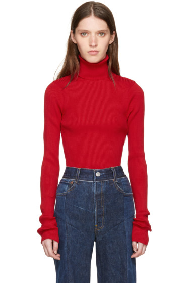 Vetements - SSENSE Exclusive Red Ribbed Turtleneck