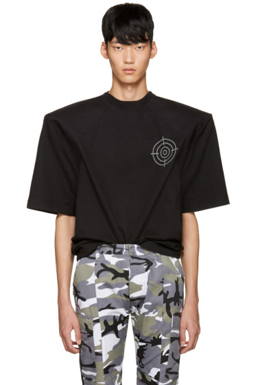 Vetements - Black 'Gun Club' Football Shoulder T-Shirt