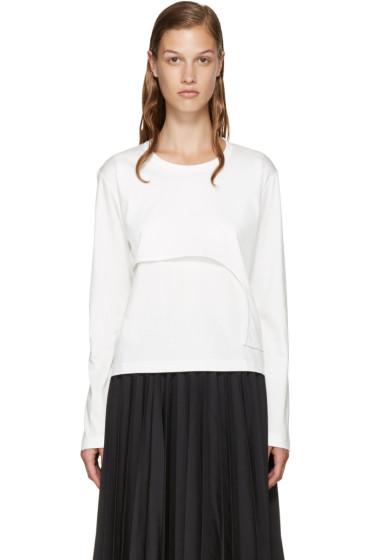 Noir Kei Ninomiya - White Asymmetric Layered T-Shirt