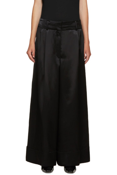 Loewe - Black Wide-Leg Satin Trousers