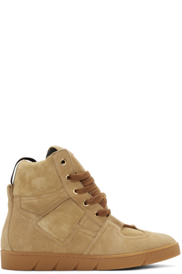 Loewe - Camel Suede High-Top Sneakers