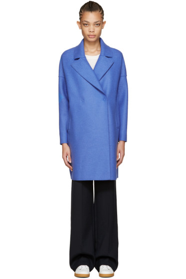 Harris Wharf London - Blue Wool Oversized Collar Coat