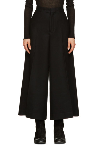 Y's - Black Wool Cropped Trousers