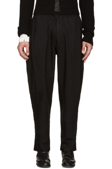 Isabel Benenato - Black Coulisse Trousers