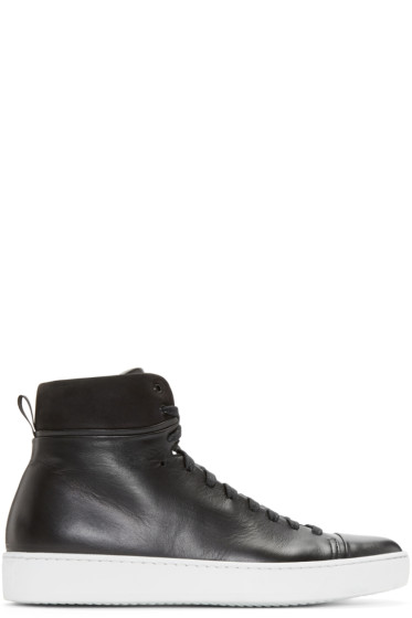 John Elliott - Black Leather High-Top Sneakers