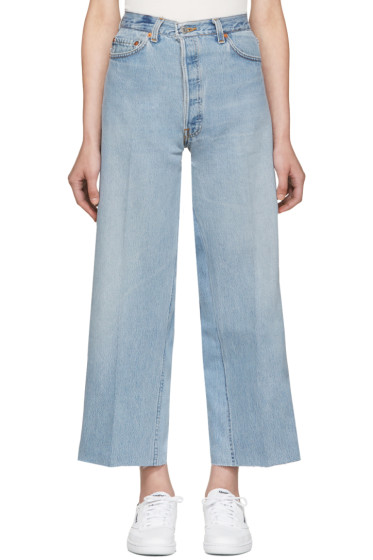 Re/Done - Blue Wide-Leg Cropped Jeans