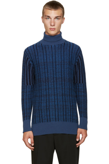 Curieux - SSENSE Exclusive Blue Cashmere Turtleneck