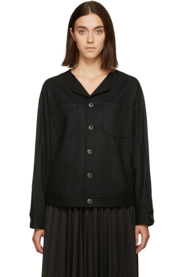 Nocturne #22 - Black Wool Button Jacket