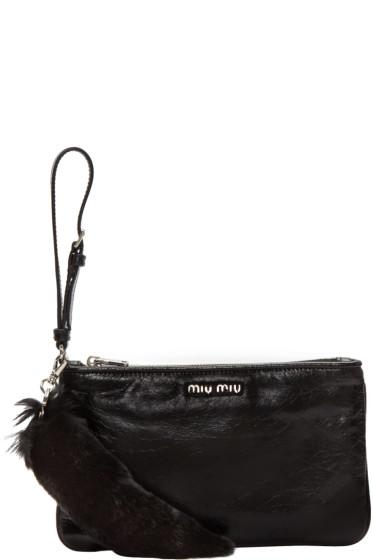 Miu Miu - Black Leather & Fur Pouch