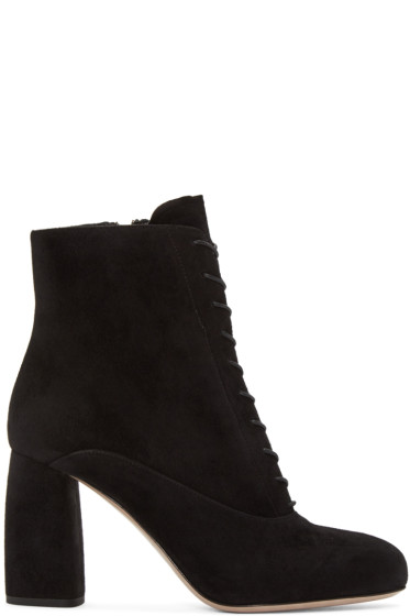Miu Miu - Black Suede Lace-Up Boots