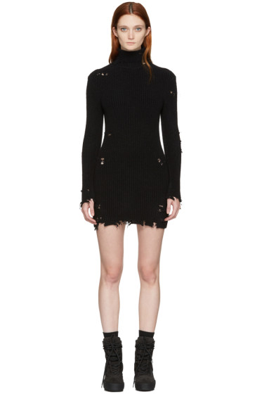 YEEZY - Black Destroyed High Neck Bouclé Dress