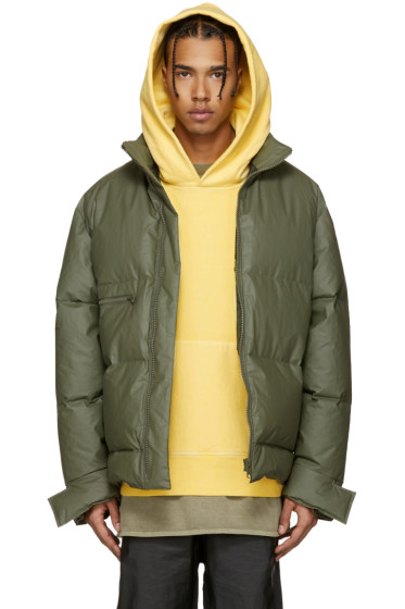 YEEZY - Green Waxed Cotton Down Puffer