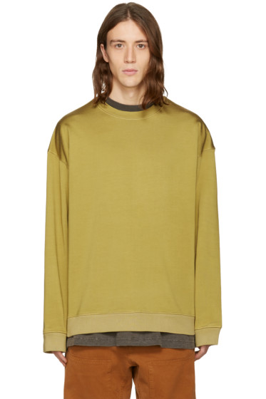 YEEZY - Green Pleated Jersey Crewneck Pullover