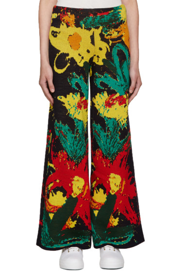 Writtenby - Multicolor Floral Knit Trousers