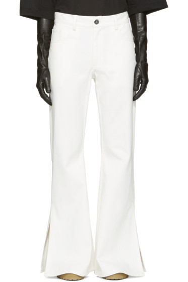 Matthew Adams Dolan - White Flared Split Hem Jeans
