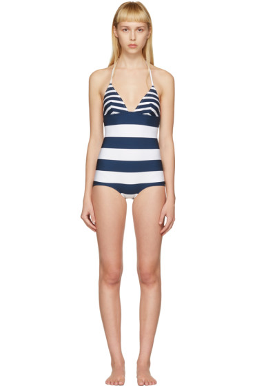 Dolce & Gabbana - White & Navy Striped Triangle Swimsuit