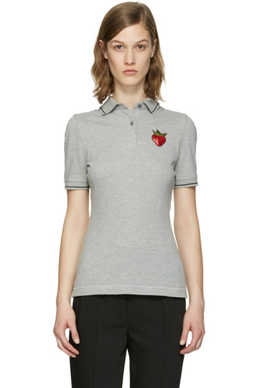 Dolce & Gabbana - Grey Strawberry Patch Polo