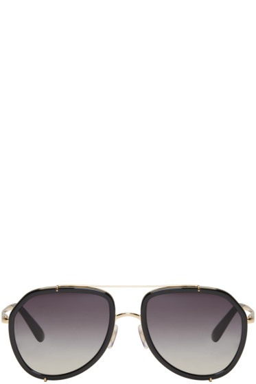 Dolce & Gabbana - Black & Gold Double Bridge Sunglasses