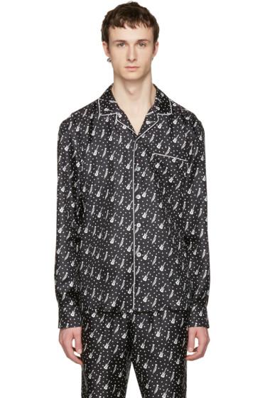 Dolce & Gabbana - Black Silk Music Pajama Shirt