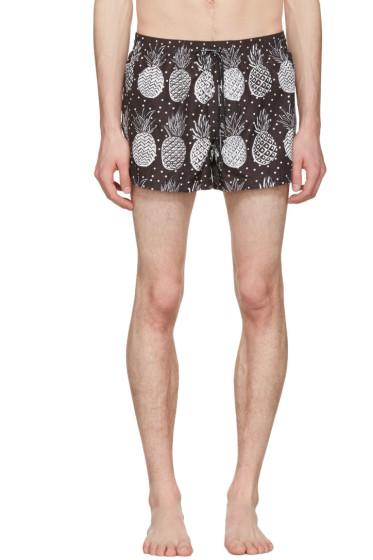 Dolce & Gabbana - Black & White Pineapple Swim Shorts