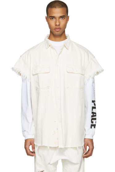 R13 - White Denim Oversized Cut-Out Trucker Shirt