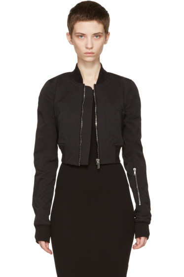 Rick Owens Drkshdw - Black Glitter Flight Cropped Bomber Jacket