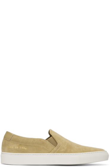Common Projects - Tan Suede Retro Slip-On Sneakers