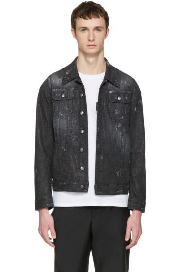 Dsquared2 - Black Denim Micro-Studded Long Jacket