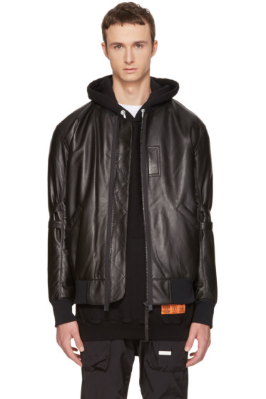 Helmut Lang - Black Leather Bomber Jacket