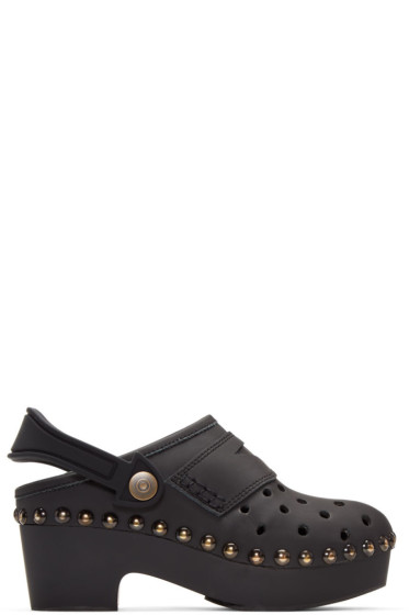 Maison Margiela - Black Leather & Rubber Clogs