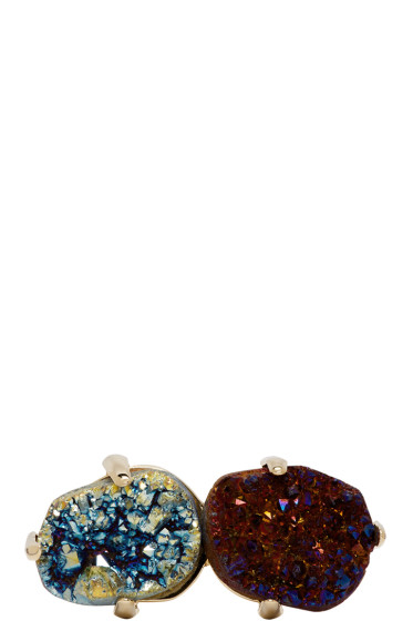 Christopher Kane - Gold & Multicolor Double Stone Ring