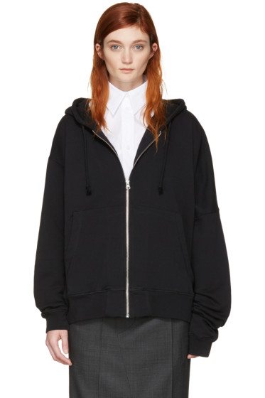 MM6 Maison Margiela - Black Asymmetric Zip Hoodie