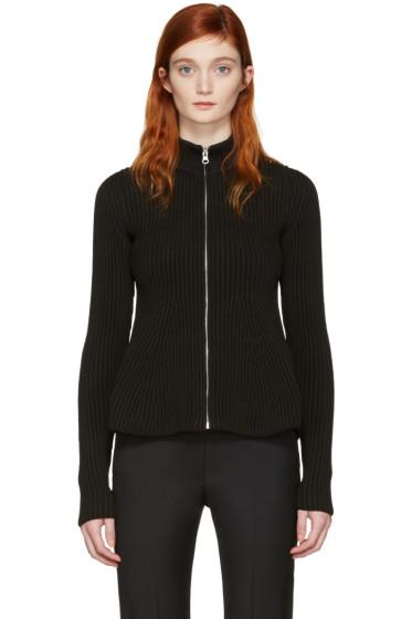 MM6 Maison Margiela - Black Peplum Zip-Up Sweater
