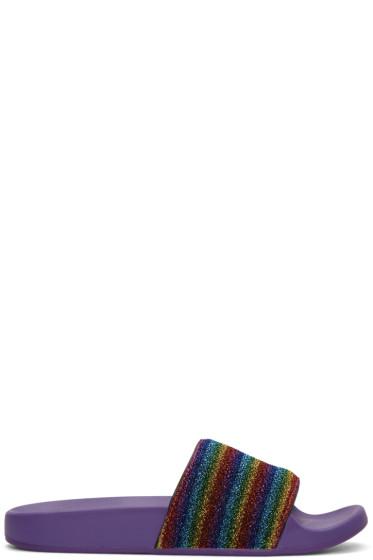 Marc Jacobs - Purple Lurex Stripe Cooper Slide Sandals