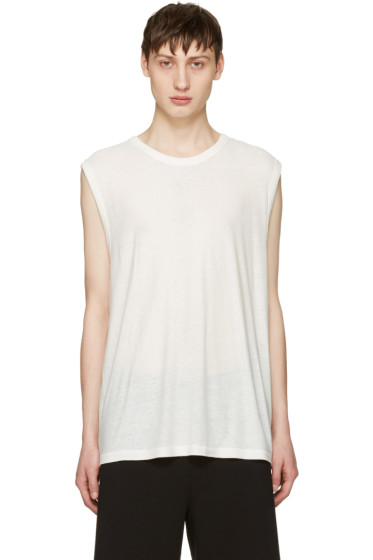 T by Alexander Wang - Ivory Sleeveless T-Shirt