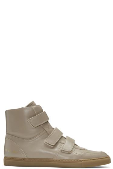 Robert Geller - Beige Common Projects Edition High-Top Sneakers